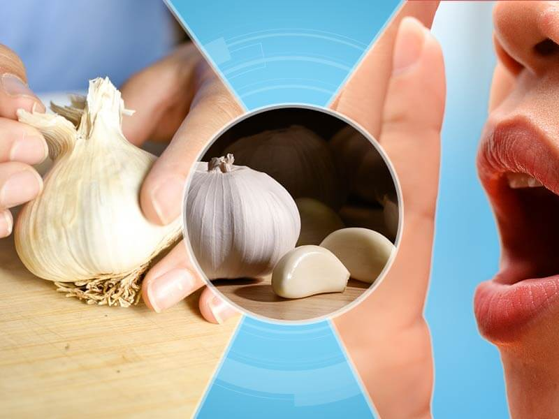 how remove garlic odor from hands and mouth