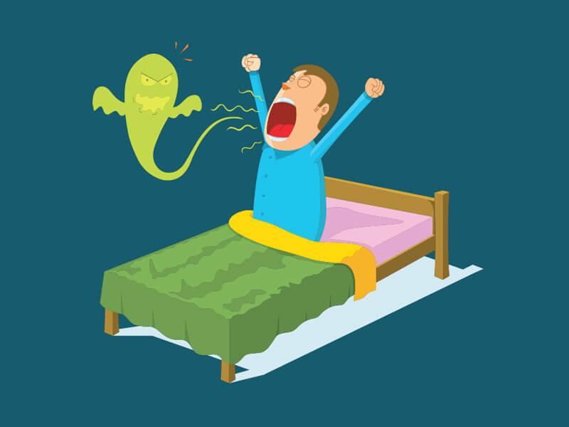 What are the causes of bad breath while you wake up in the morning