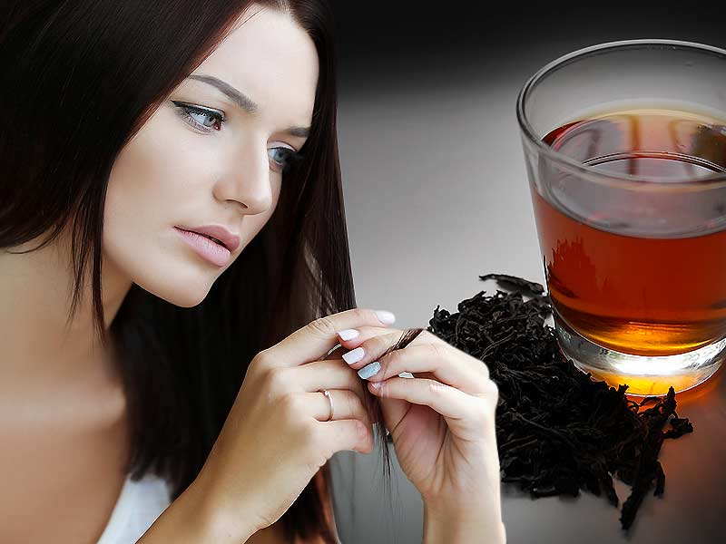 Balck tea helps to get rid of dull and dry hair
